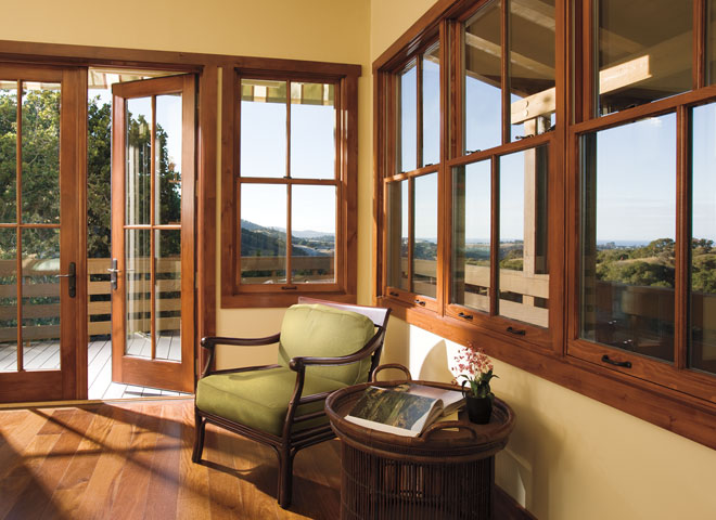Architect series traditional french door open four double-hung windows